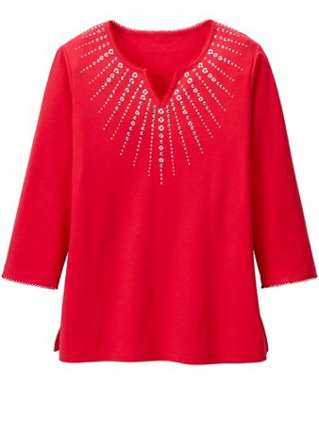 Alfred Dunner Heat Set Knit 3/4 Sleeve Top - Image 1 of 1