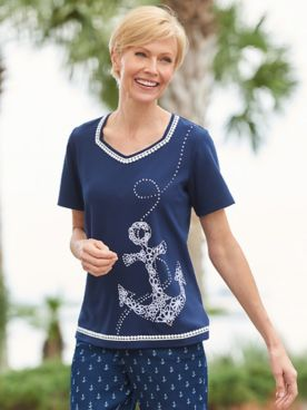 Alfred Dunner Anchor Dot Embroidered Tee