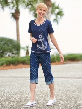 Alfred Dunner Anchor Dot Embroidered & Print Denim Capris