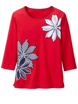 Large Floral Applique Knit Top by Alfred Dunner