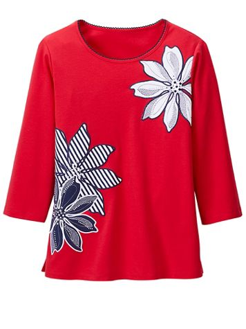 Large Floral Applique Knit Top by Alfred Dunner - Image 2 of 2