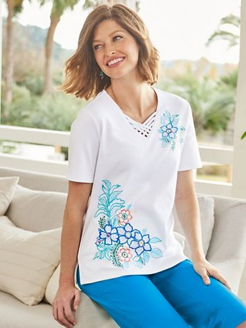 Maui Floral Embroidery Short Sleeve Tee - Image 1 of 1