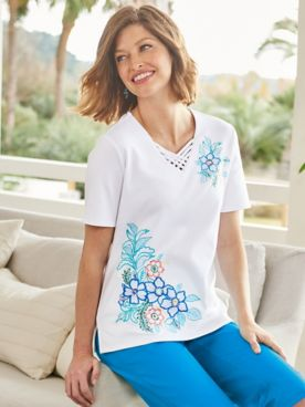 Maui Floral Embroidery Short Sleeve Tee