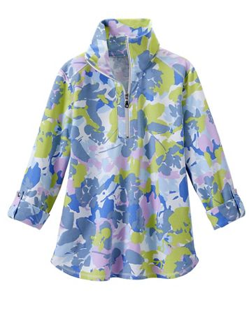 Abstract Floral Half-Zip Pullover by Ruby Rd. - Image 2 of 2