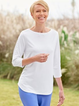 Boatneck Embellished 3/4 Sleeve Knit Top by Ruby Rd.