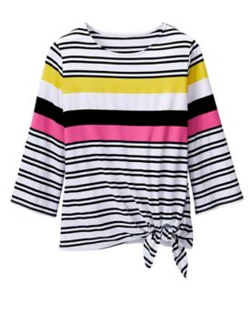 Ruby Rd. Stripe Side Tie Knit Top