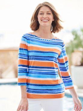Painterly Stripes Knit Boatneck 3/4 Sleeve Tee