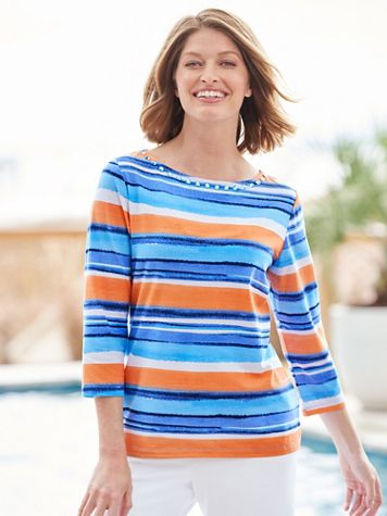 Painterly Stripes Knit Boatneck 3/4 Sleeve Tee - Image 2 of 2