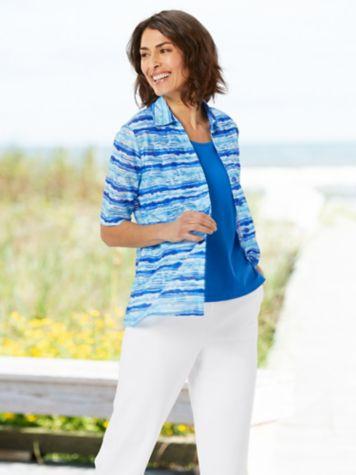 Seaside Stripe Shirt & Comfort Knit Classic Capris