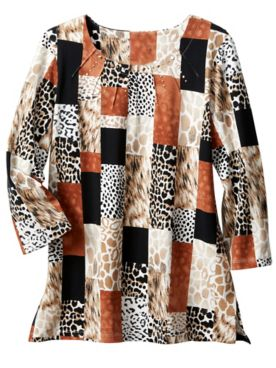 Alfred Dunner Animal Print Boxes Tee