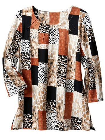 Alfred Dunner Animal Print Boxes Tee - Image 2 of 2