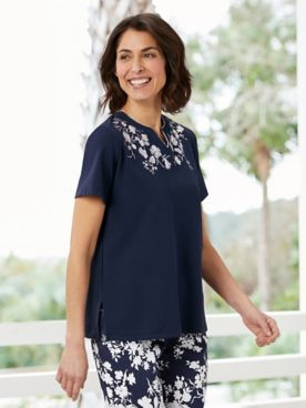 Alfred Dunner Embroidered Neckline Tee
