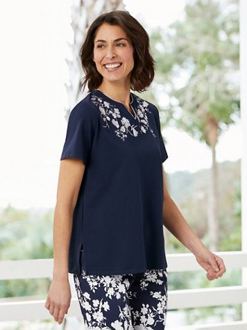 Alfred Dunner Embroidered Neckline Tee - Image 2 of 2