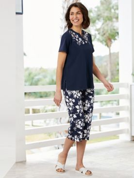 Embroidered Neckline Tee & Floral Capris by Alfred Dunner