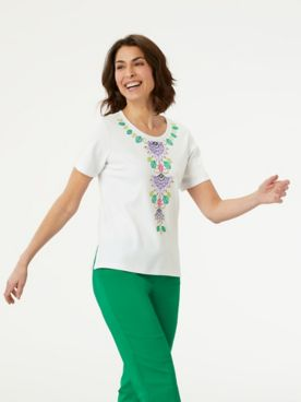 Alfred Dunner Center Embroidered Floral Top