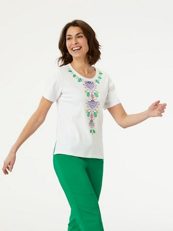 Alfred Dunner Center Embroidered Floral Top - Image 2 of 2