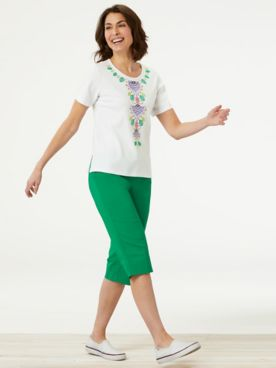 Center Embroidered Floral Top & Solid Capris by Alfred Dunner