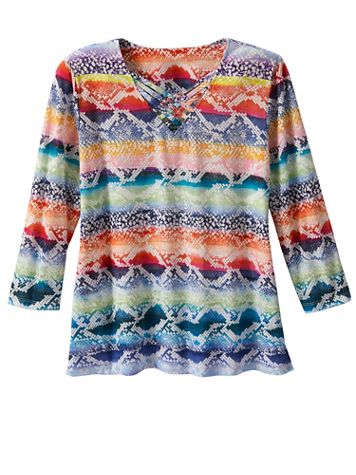 Alfred Dunner Python Biadere Print Tee - Image 2 of 2