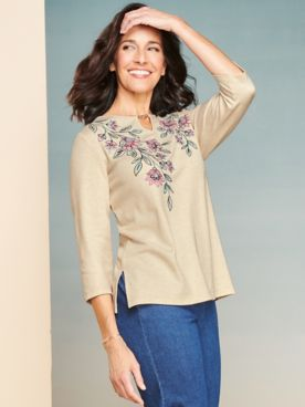 Alfred Dunner Floral Embroidery Yoke Tee