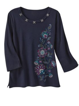 Alfred Dunner Asymmetrical Embroidered Tee