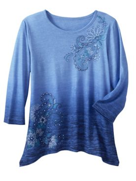 Alfred Dunner Ombré Paisley Knit 3/4 Sleeve Top