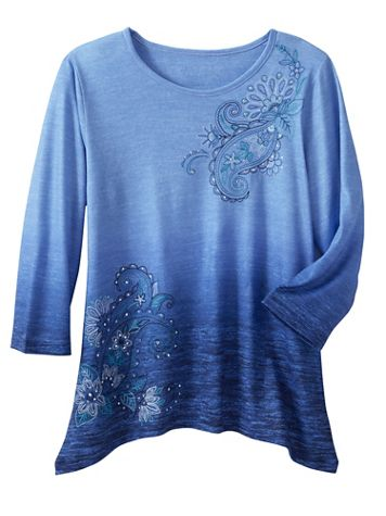 Alfred Dunner Ombré Paisley Knit 3/4 Sleeve Top - Image 2 of 2