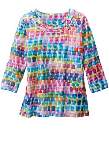 Alfred Dunner Watercolor Chicklets Print Tee - Image 2 of 2