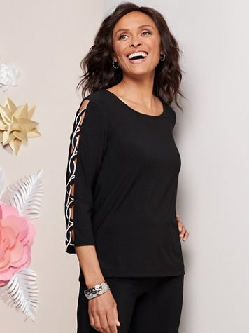 Contrast Sleeve Knit Top - Image 2 of 2