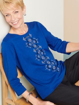 Center Embroidered 3/4 Sleeve Knit Top by Alfred Dunner