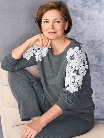 Lace Shoulder Long Sleeve Pullover - Image 2 of 2