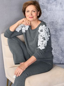 Lace Shoulder Pullover & Go Everywhere Pants
