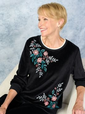 Alfred Dunner Precious Jewels Velour Top With Embroidery