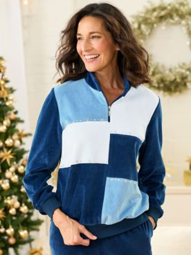 Alfred Dunner Precious Jewels Colorblock Velour Long Sleeve Top
