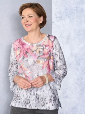 Alfred Dunner Animal Floral Knit Tee
