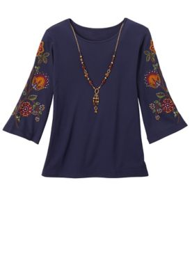 Alfred Dunner Embroidered Sleeve Top With Necklace.
