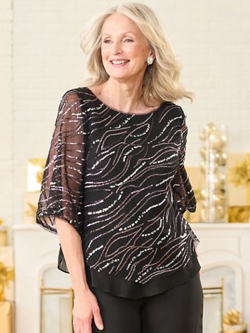 Sequin Swirl Special Occasion Popover Blouse by Alex Evenings - Image 2 of 2