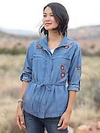 Denim Anorak Embroidered Jacket