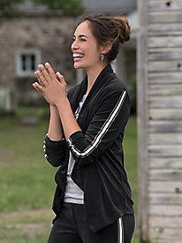 Velour Varsity Stripe Jacket