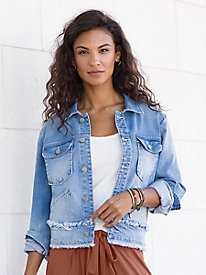 Ruffled Frayed Jean Jacket