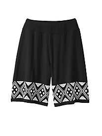 Embroidered Knit Culotte