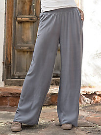 Wide Leg Pull On Rayon Pants