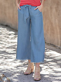 Crop Wide Leg Tencel Pants