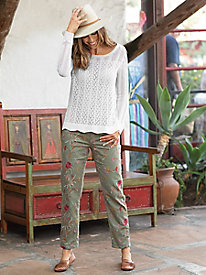 Floral Embroidered Slouchy Boyfriend Jeans