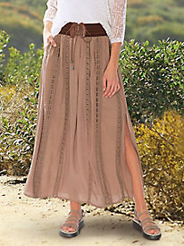 Belted Crinkle Maxi Skirt