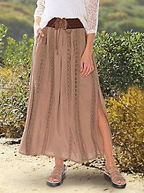 Belted Crinkle Maxi Skirt