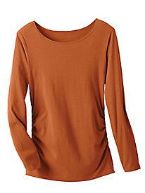 Long Sleeve Solid Side Ruched Top
