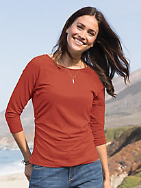 3/4 Sleeve Solid Side Ruched Top