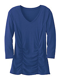 3/4 Sleeve Solid Front Ruched Top