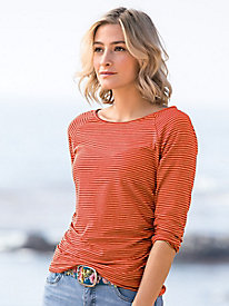 3/4 Sleeve Stripe Side Ruched Top