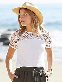 Burnside Short Sleeve Lace Top